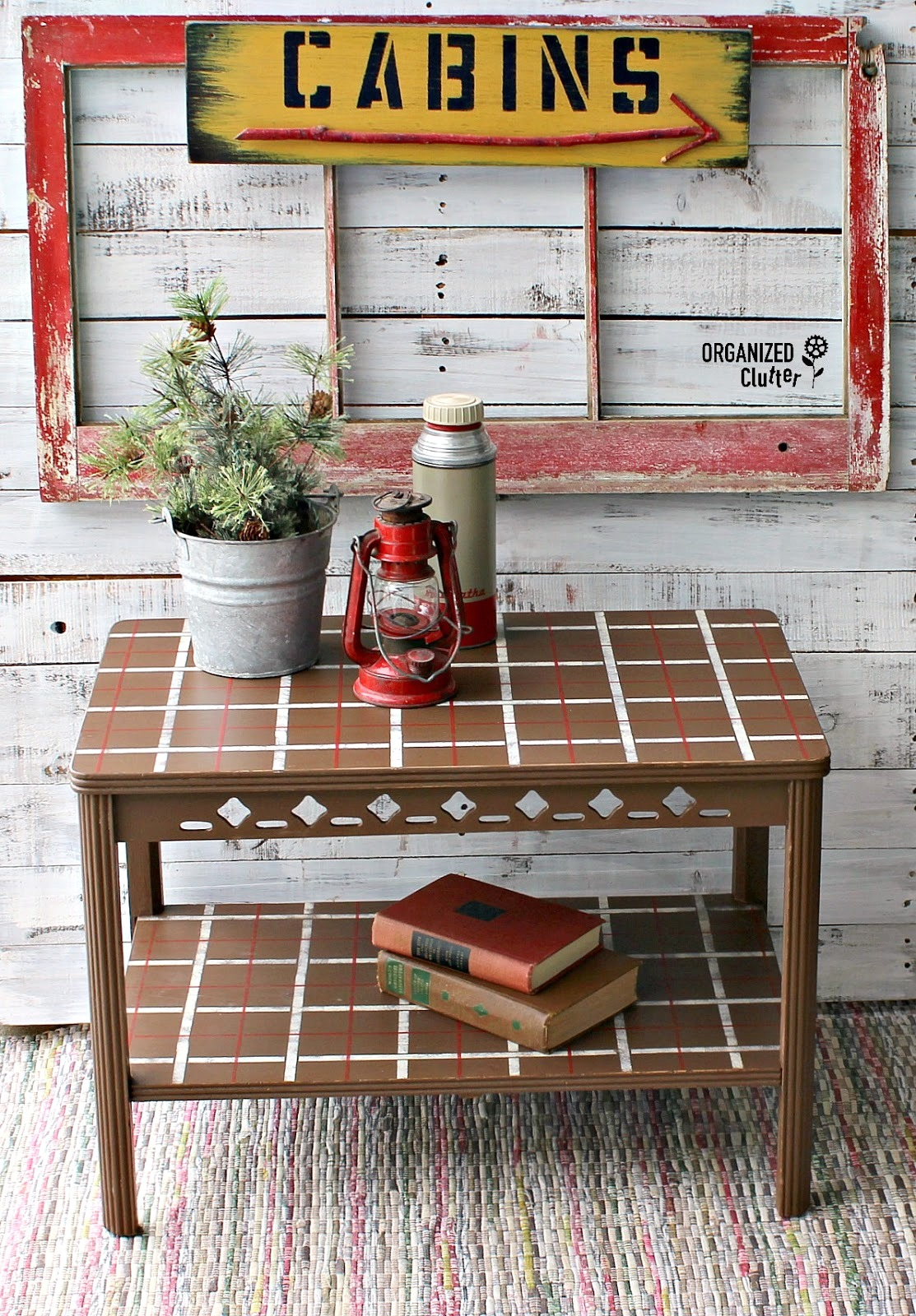Cabin inspired plaid vintage table by Organized Clutter, featured on Funky Junk Interiors