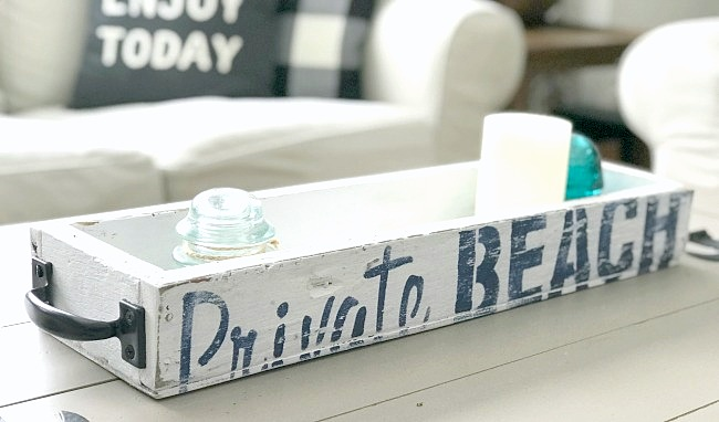 Private Beach rustic summer tray by Homeroad, featured on Funky Junk Interiors