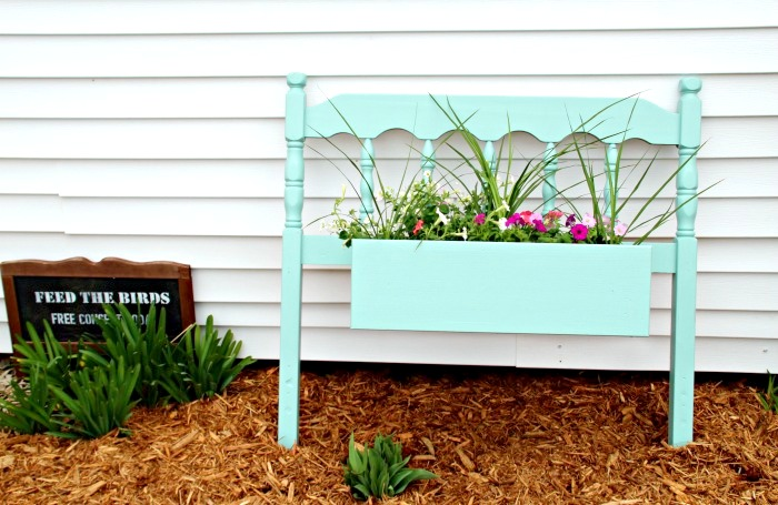 Headboard flowerbox planter by Knick of Time, featured on Funky Junk Interiors