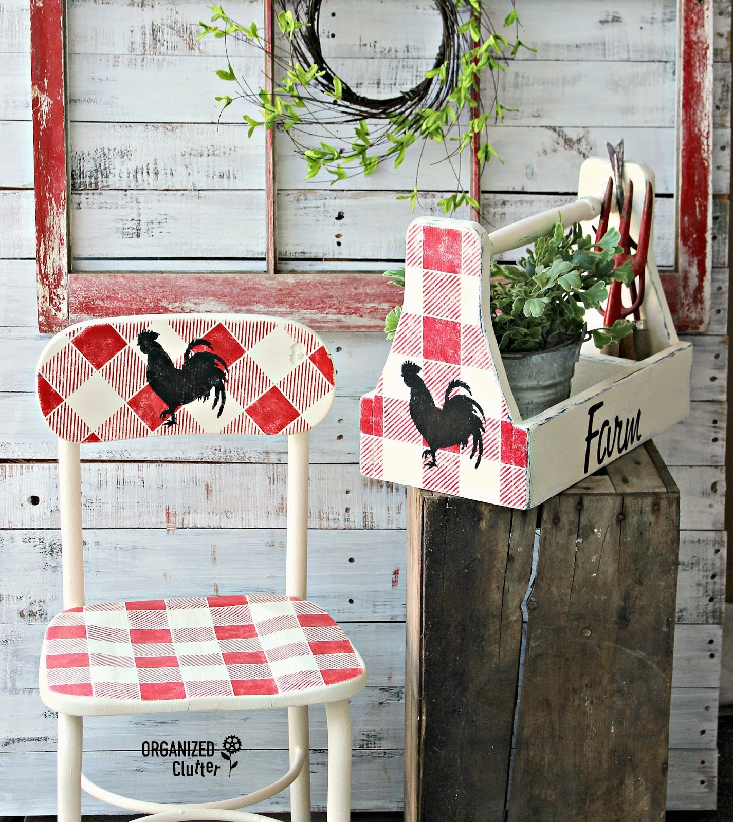 Farmhouse buffalo checked toolbox and chair by Organized Clutter, featured on Funky Junk Interiors
