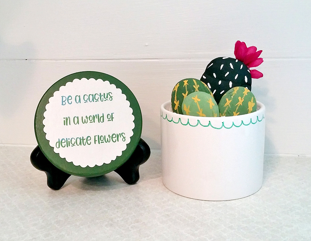 Painted rock faux cactus by Little Vintage Cottage, featured on Funky Junk Interiors