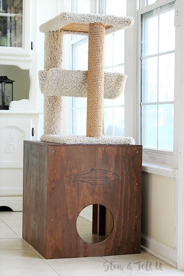 Cat tree rustic crate cubby by Stow and Tell U, featured on Funky Junk Interiors