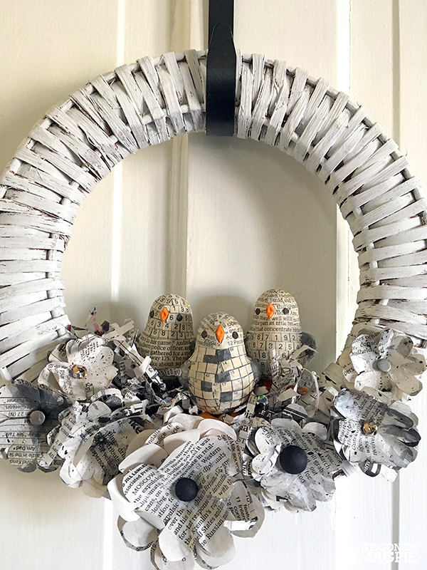 Newspaper bird and flower wreath by Wisconsin Magpie, featured on Funky Junk Interiors