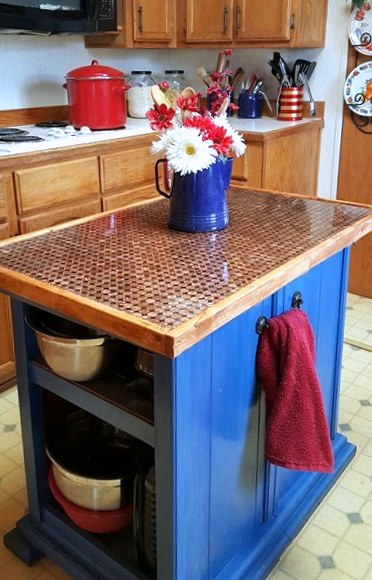 Penny kitchen island countertop by Make The Best Of Things, featured on Funky Junk Interiors