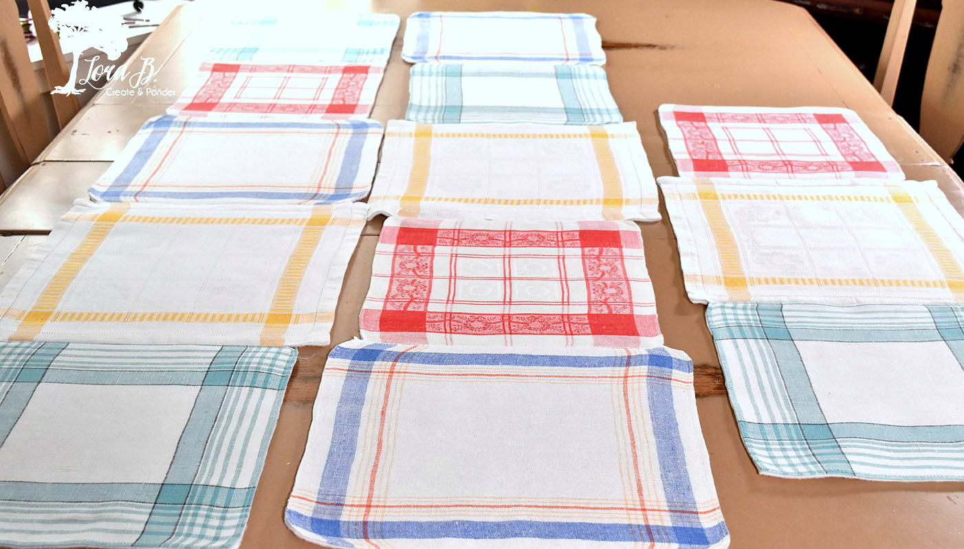 Cloth table napkin table runners by Lora B, featured on Funky Junk Interiors