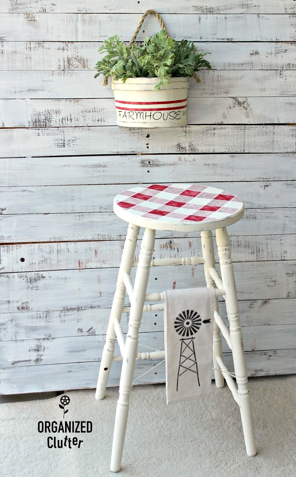 Buffalo checked stool and grain sack striped planter by Organized Clutter, featured on Funky Junk Interiors