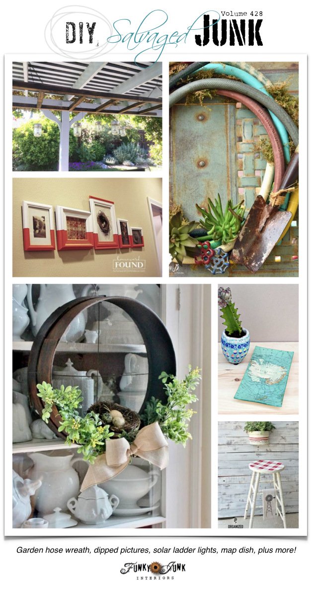 DIY Salvaged Junk Projects 428 - Garden hose wreath, dipped pictures, solar ladder lights, map dish, plus! Repurposed features and NEW upcycled projects..