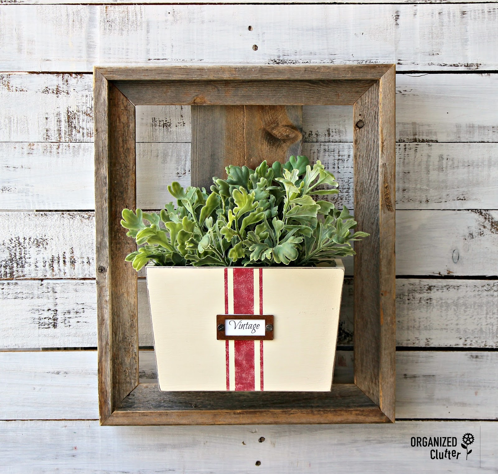 Grain sack striped file holder wall planter by Organized Clutter, featured on Funky Junk Interiors