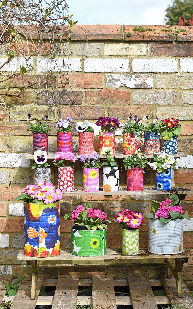Decorative tin can planters by Pillar Box Blue, featured on Funky Junk Interiors