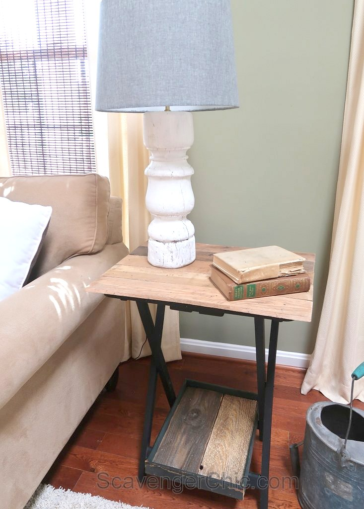 Pallet wood enhanced TV tray by Scavenger Chic, featured on Funky Junk Interiors
