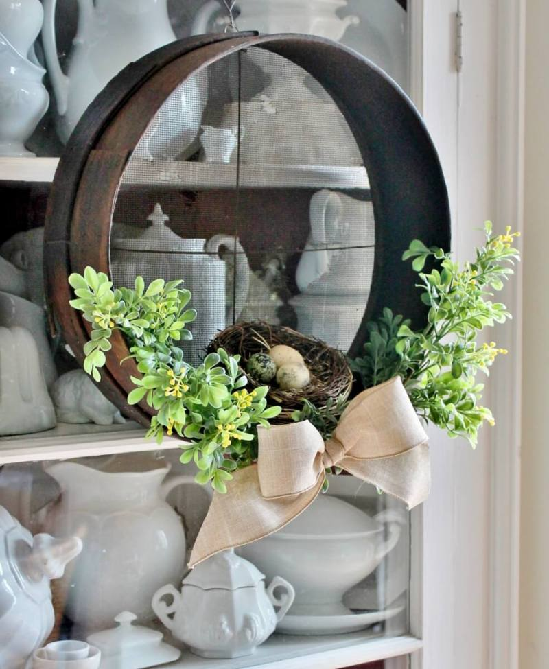 Vintage sieve summer wreath by Adirondack Girl At Heart, featured on Funky Junk Interiors