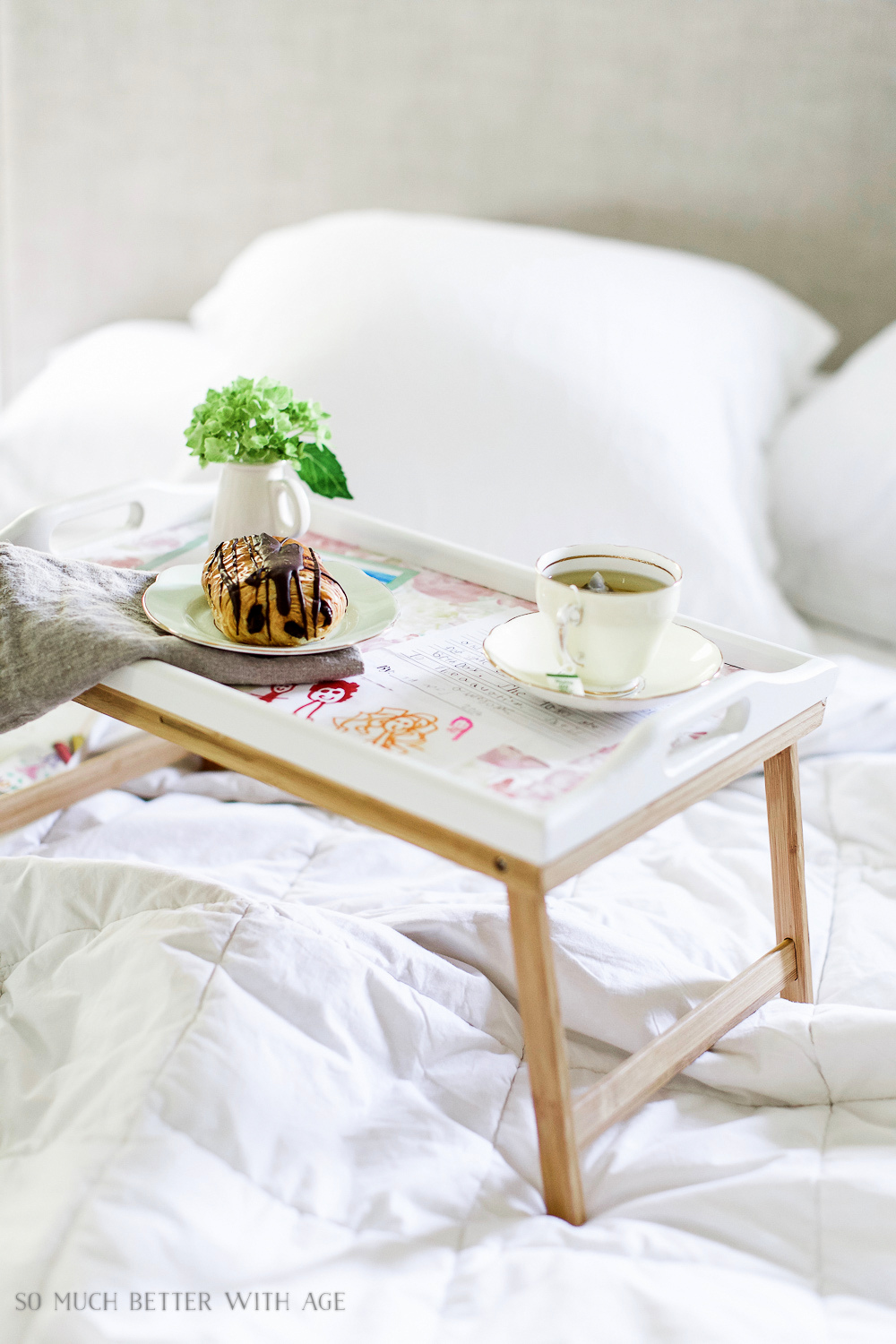 Decoupaged kid's art breakfast-in-bed tray by So Much Better With Age, featured on Funky Junk Interiors