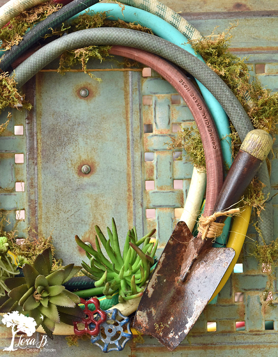 Garden hose outdoor summer wreath by Lora B, featured on Funky Junk Interiors