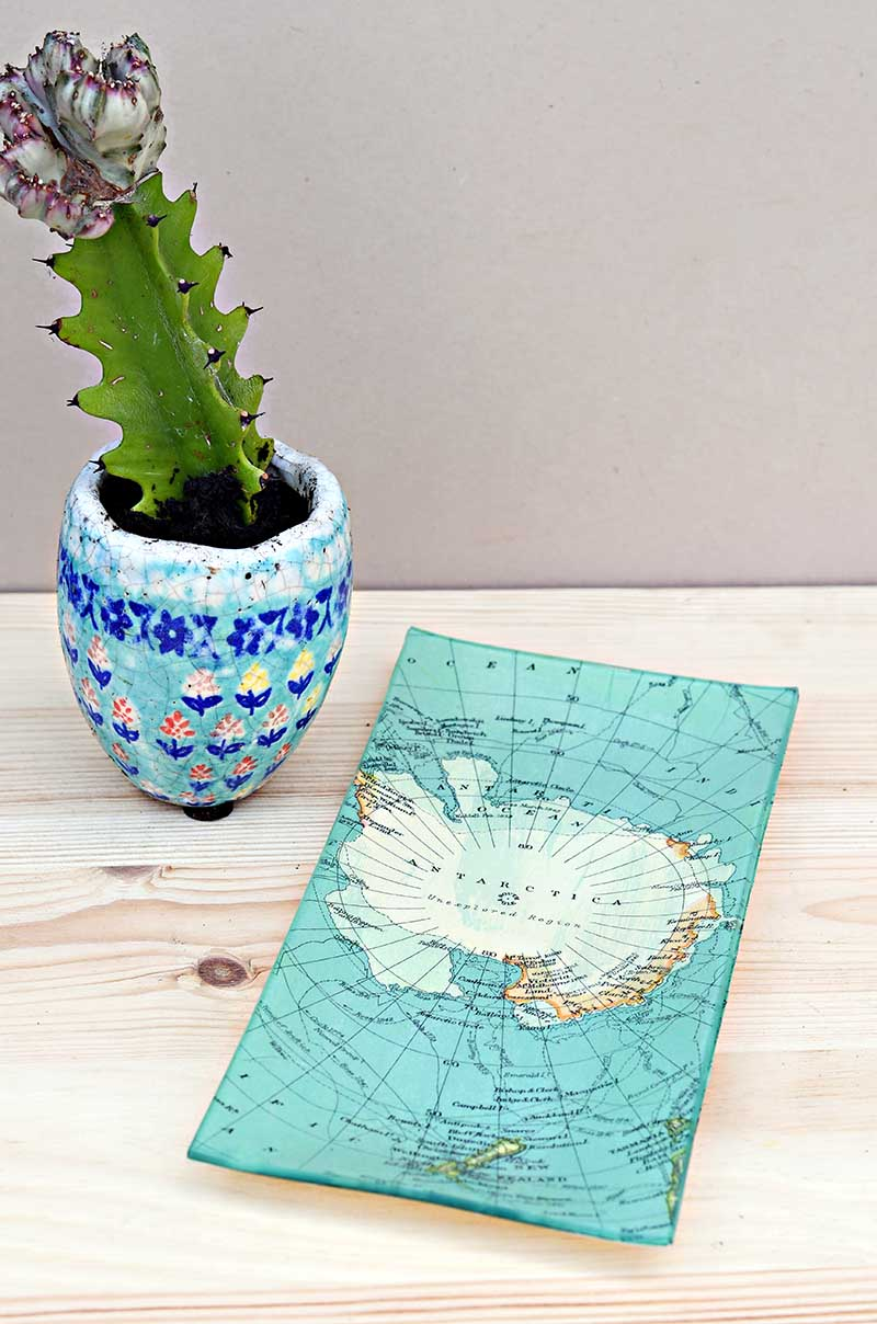 Decoupaged map dish by Pillar Box Blue, featured on Funky Junk Interiors