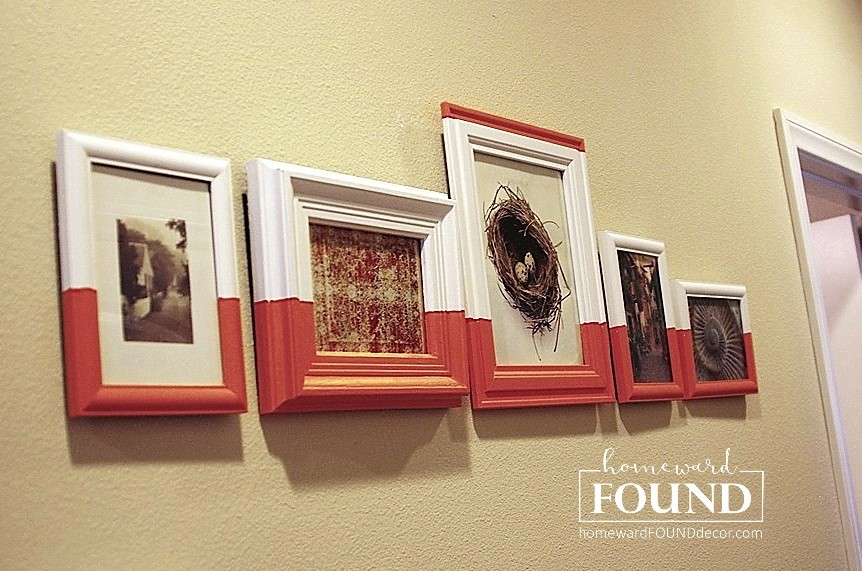 Paint dipped picture frames wall art by Homeward Found Decor, featured on Funky Junk Interiors