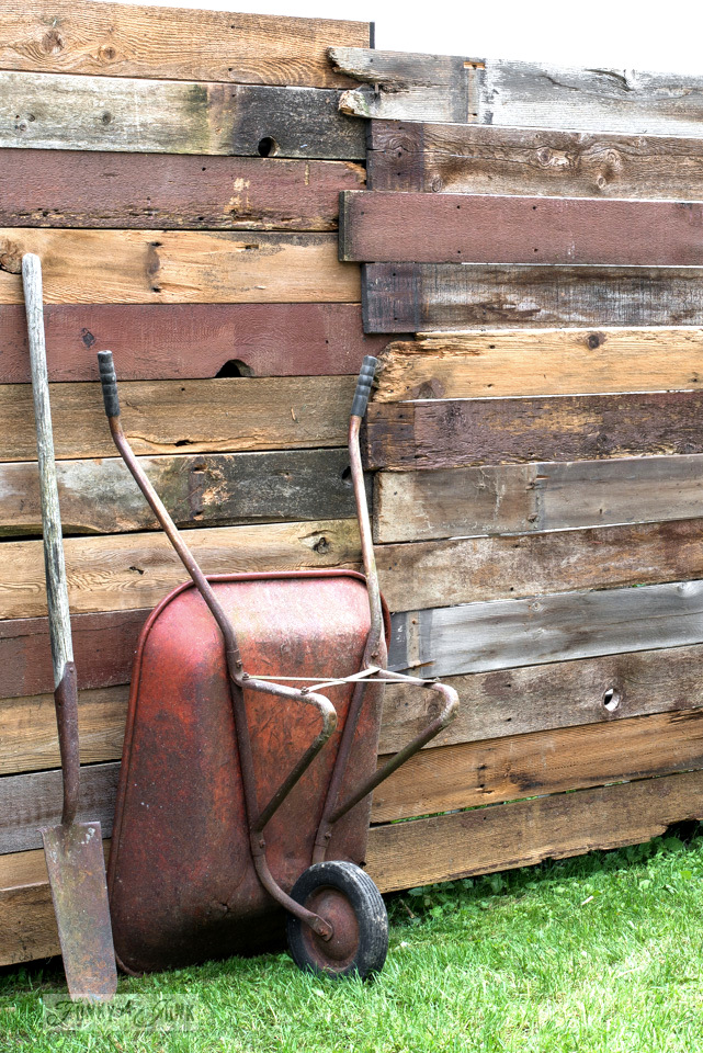 Reclaimed wood garden fence with a vintage red metal garden wagon