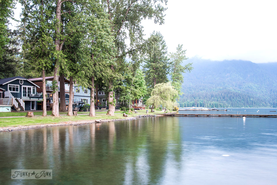 Cottages lining the lake at Cultus Lake, BC