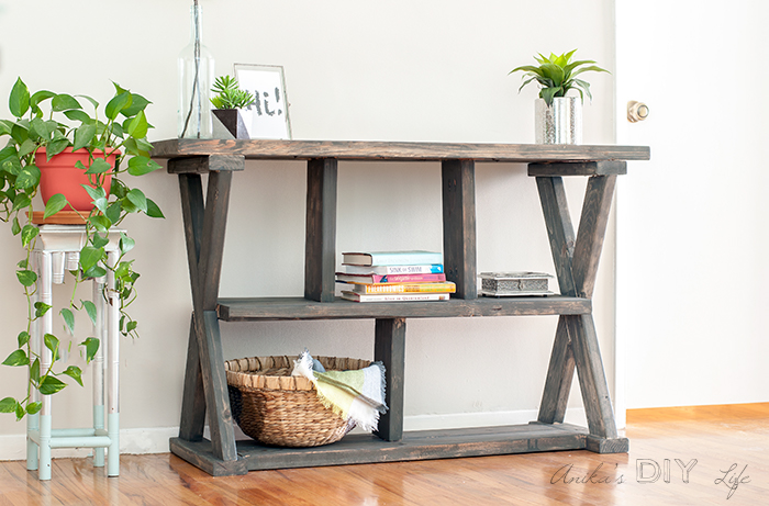 Rustic cross leg console table by Anika's DIY Life, featured on Funky Junk Interiors