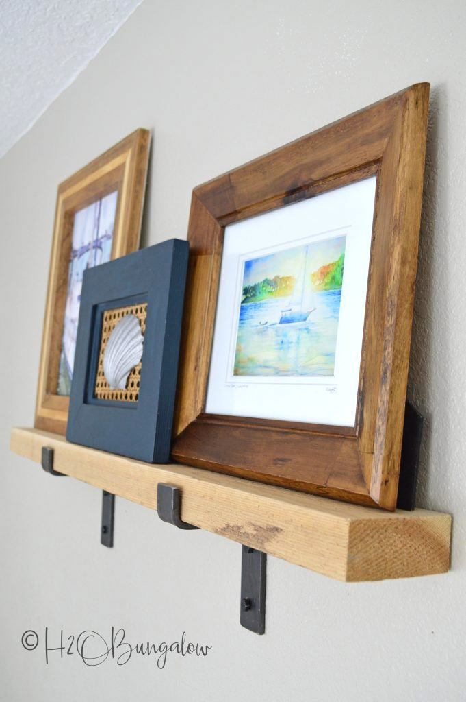 Rustic picture ledge shelf by H2O Bungalow, featured on Funky Junk Interiors