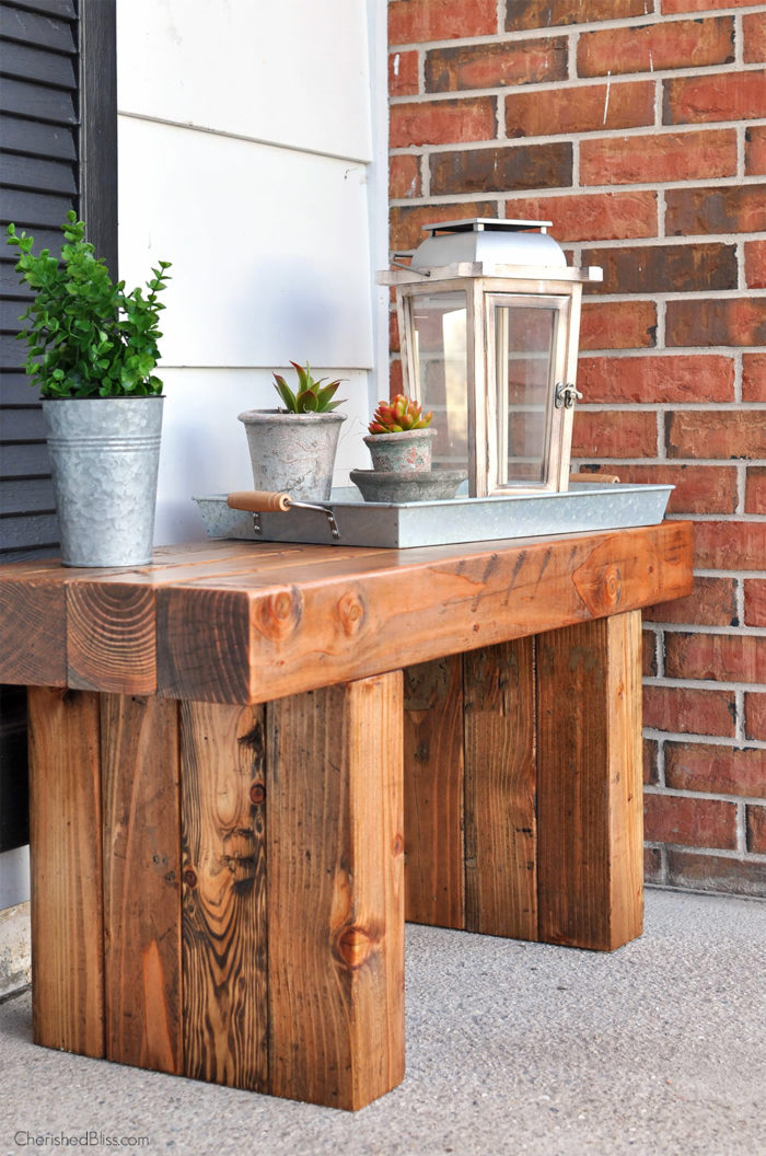 Chunky stock wood outdoor bench by Cherished Bliss, featured on Funky Junk Interiors