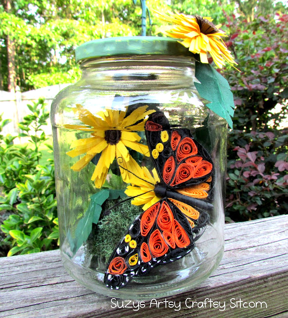 Paper quill butterflies and flowers in a jar by Suzy's Artsy-Craftsy Sitcom, featured on Funky Junk Interiors