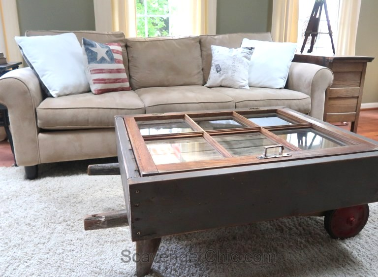 Window hand cart coffee table by Scavenger Chic, featured on Funky Junk Interiors