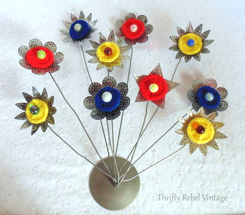Vintage Christmas metal reflector flowers by Thrifty Rebel Vintage, featured on Funky Junk Interiors