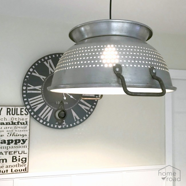 Hanging farmhouse colander light by Homeroad, featured on Funky Junk Interiors