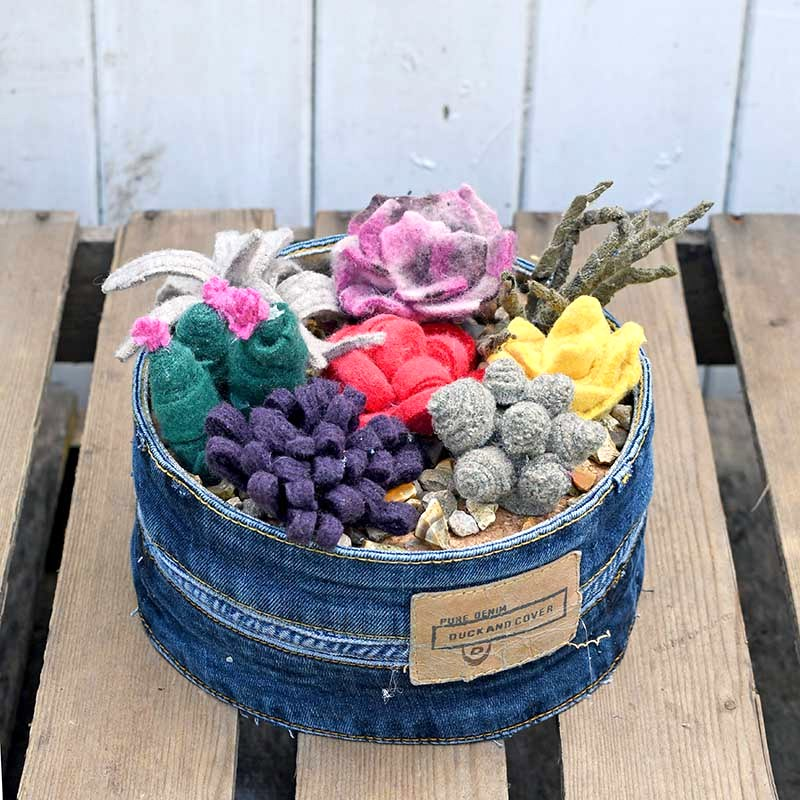 Felt succulent garden by Pillar Box Blue, featured on Funky Junk Interiors