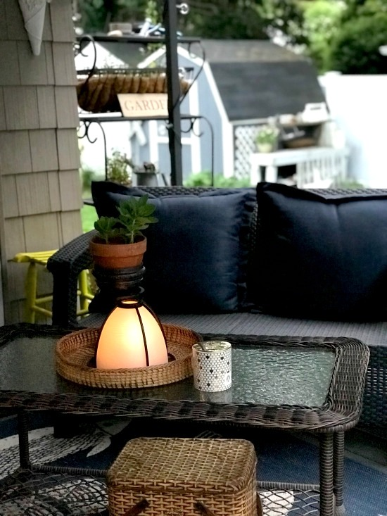 DIY light shade candle lantern by Homeroad, featured on Funky Junk Interiors