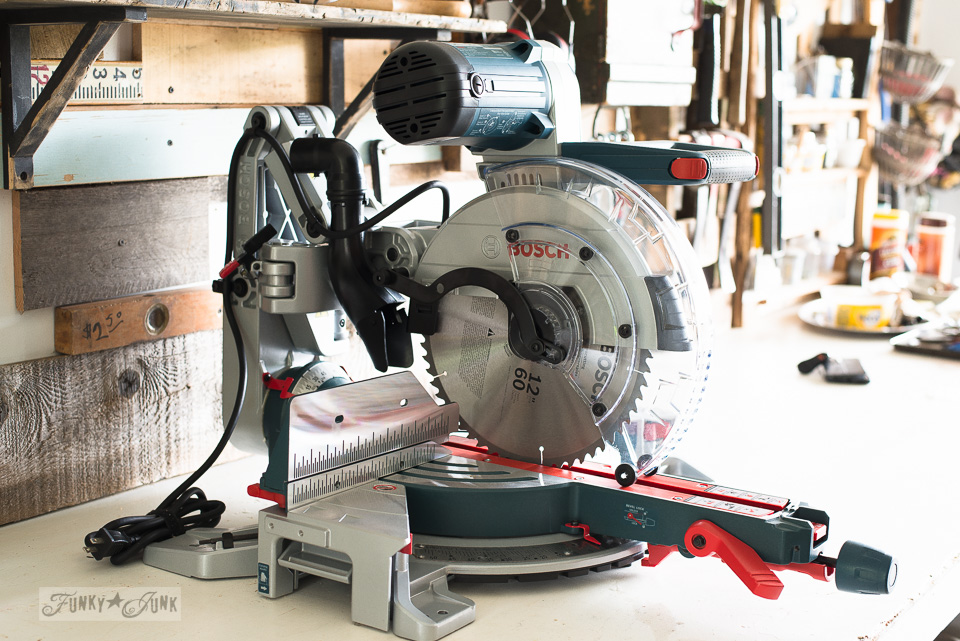 Learn more about this Bosch miter saw in a review blog post. It's amazing! Includes links on where to find it. Click to read more!
