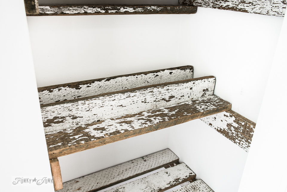 How to build unique reclaimed wood closet shelves in a bathroom! Includes shallow shelves and custom partitions to sort out products.