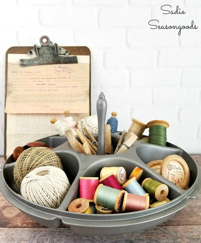 Industrial hardware bin from Tupperware by Sadie Seasongoods, featured on Funky Junk Interiors