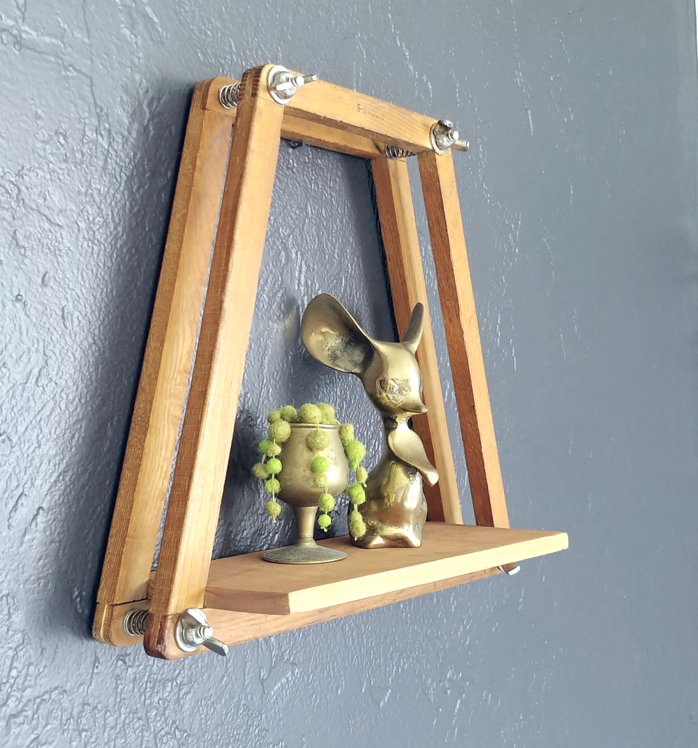 Up-cycled tennis racket press shelf by Little Vintage Cottage, featured on Funky Junk Interiors