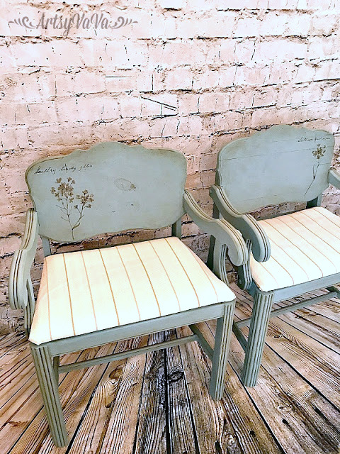 Charming vintage chairs redo by Artsy VaVa , featured on Funky Junk Interiors