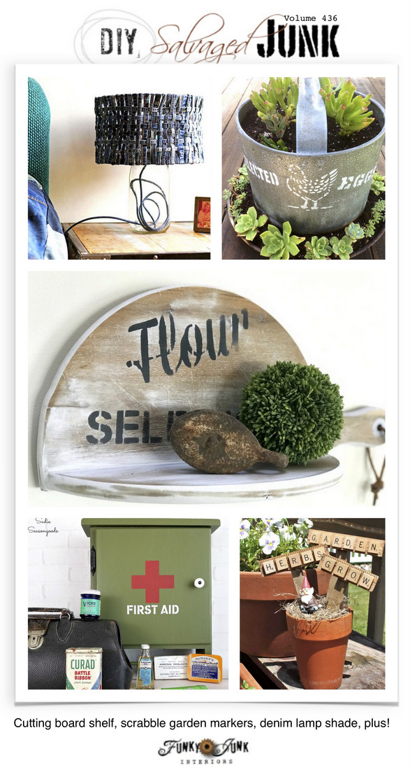 DIY Salvaged Junk Projects 436 - Cutting board shelf, scrabble garden markers, denim lamp shade, plus! Features and NEW junk projects!