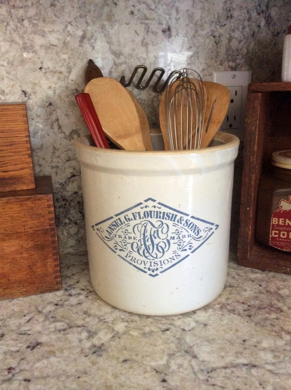 Stencilled stoneware crock by Fresh Vintage By Lisa S, featured on Funky Junk Interiors