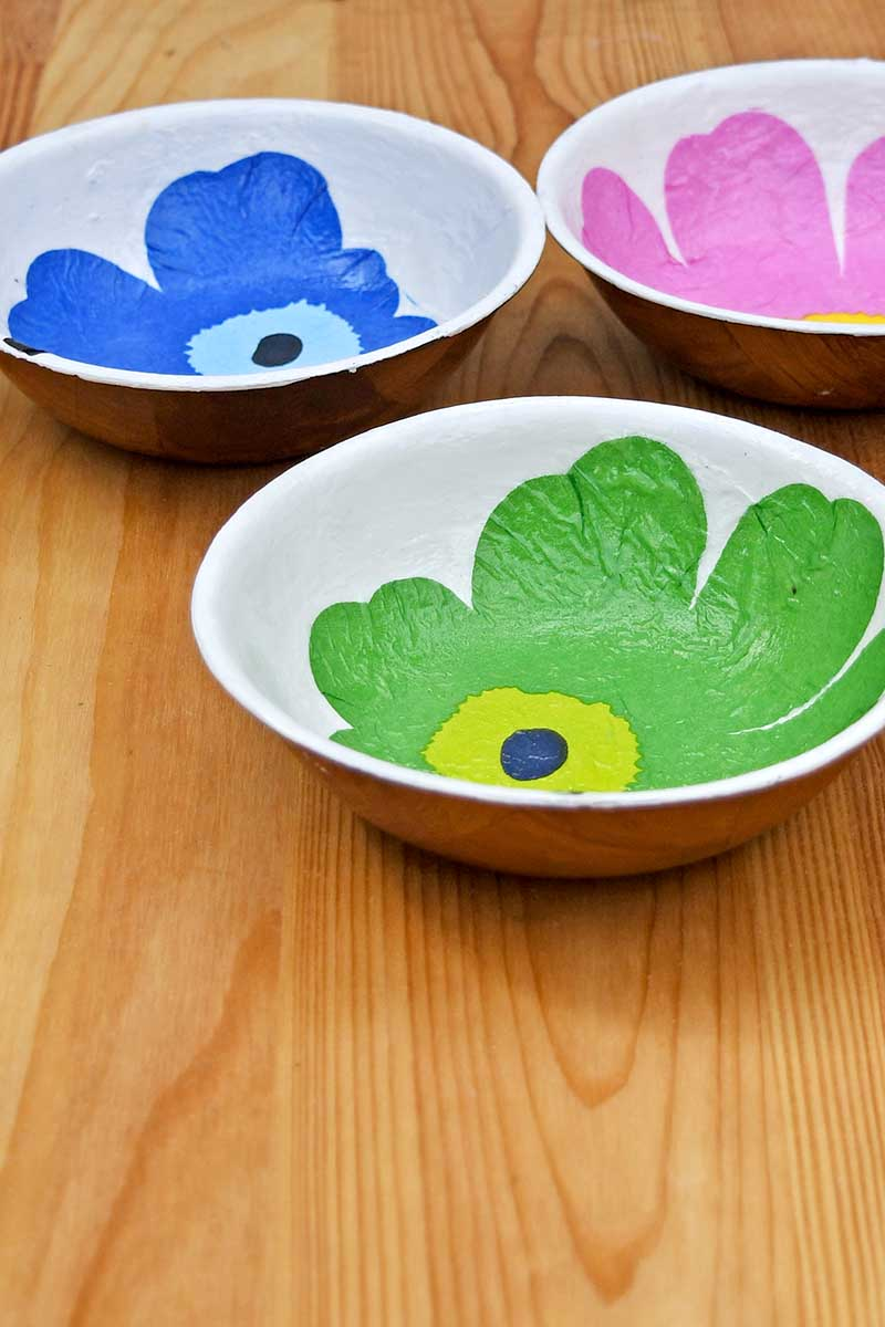 Decoupaged wooden bowls by Pillar Box Blue, featured on Funky Junk Interiors