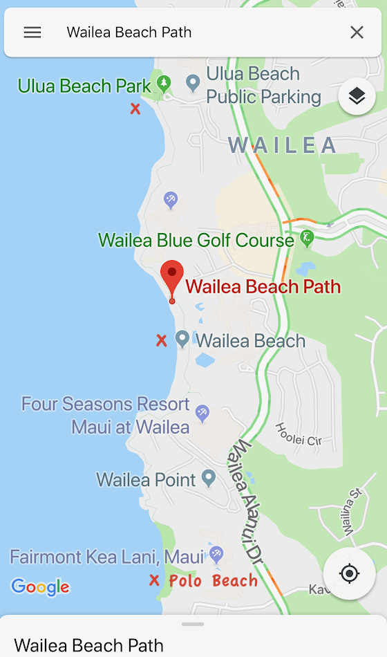 A map of Wailea Beach Path, showcasing the three beach parking entrances, Ulua Beach, Wailea Beach, and Polo Beach.