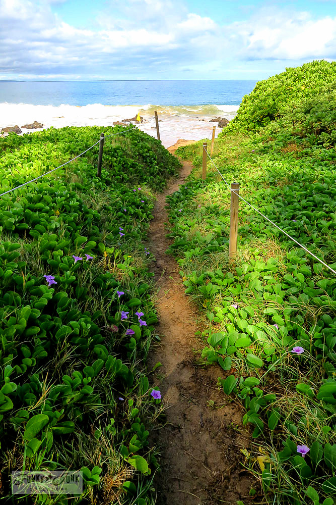 a beach path onto Kamaole Beach in Kihei, Hawaii