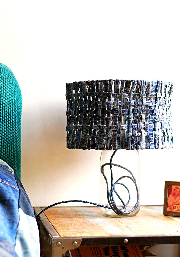 Denim woven table lamp shade by Pillar Box Blue, featured on Funky Junk Interiors