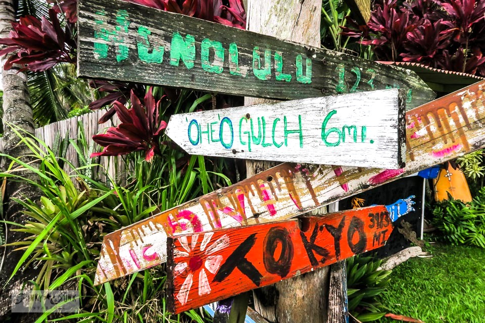 rustic directional sign in Hana, Maui, Hawaii