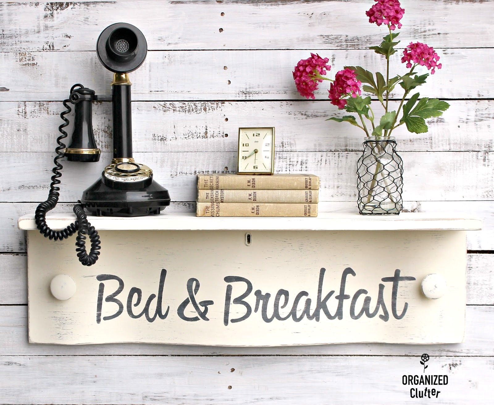 Bed and Breakfast antique drawer wall shelf and sign by Organized Clutter, featured on Funky Junk Interiors