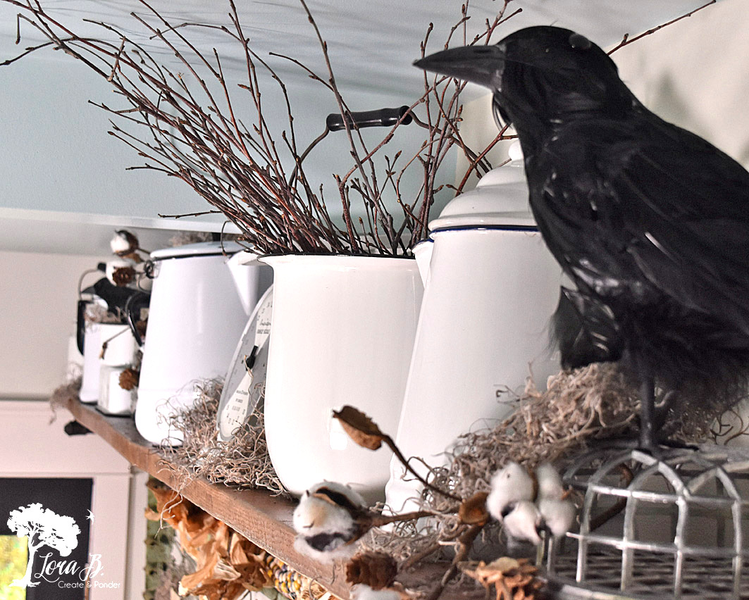 Crows and enamelware fall decorating by Lora B, featured on Funky Junk Interiors
