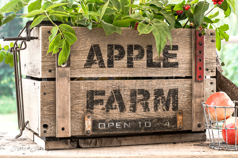 Building a DIY Apple Farm Crate with Open 10-4 sign, made with Funky Junk's Old Sign Stencils