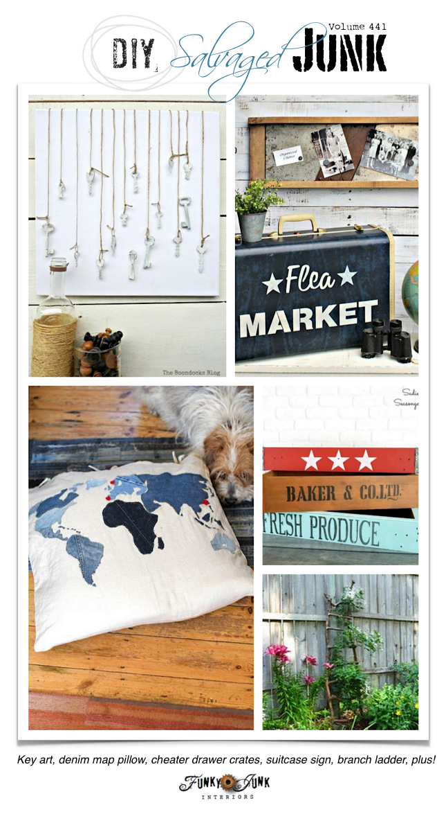 DIY Salvaged Junk 441 - Key art, denim map pillow, cheater drawer crates, suitcase sign, branch ladder, plus! Features plus new junk projects!