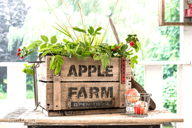 DIY rustic Apple Farm crate for fall, made with Funky Junk's Old Sign Stencils-001