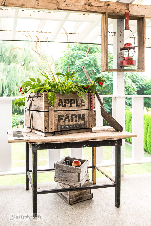 DIY rustic Apple Farm crate for fall on a patio, made with Funky Junk's Old Sign Stencils