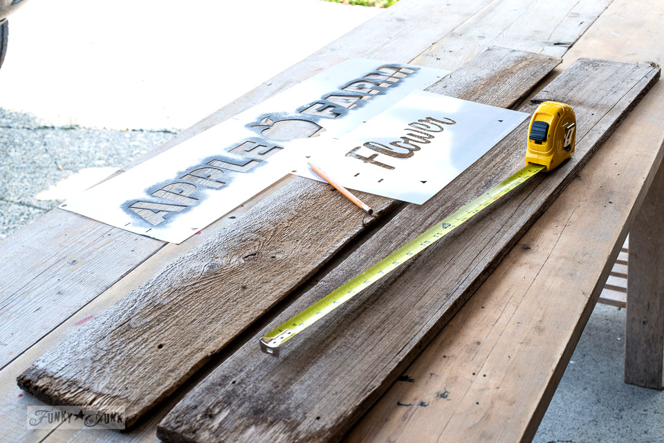 DIY rustic crate from reclaimed wood, with Funky Junk's Old Sign Stencils Apple Farm and Flower