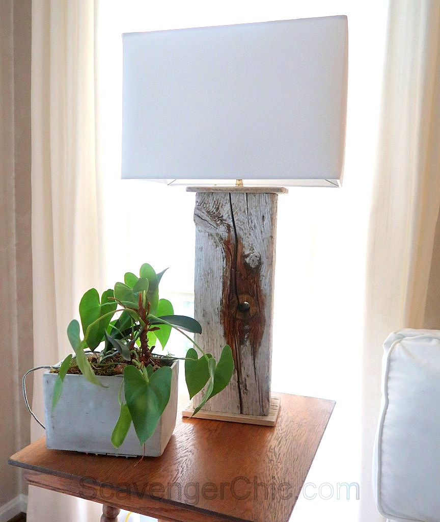 DIY driftwood lamps by Scavenger Chic, featured on Funky Junk Interiors